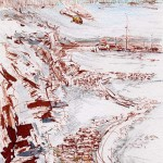 Бухта Роджерса на о.Врангеля (б., тушь, перо, графитный карандаш, размывка). Open air sketch: In the Rodger's Bay, Wrangel Island ( ink, pen, pencil, washing, 15*21 cm), 1980's