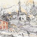 Старый Киев, причал наи Подоле (реконструкция): б., гелевая ручка, карандаш, 15*21 см)