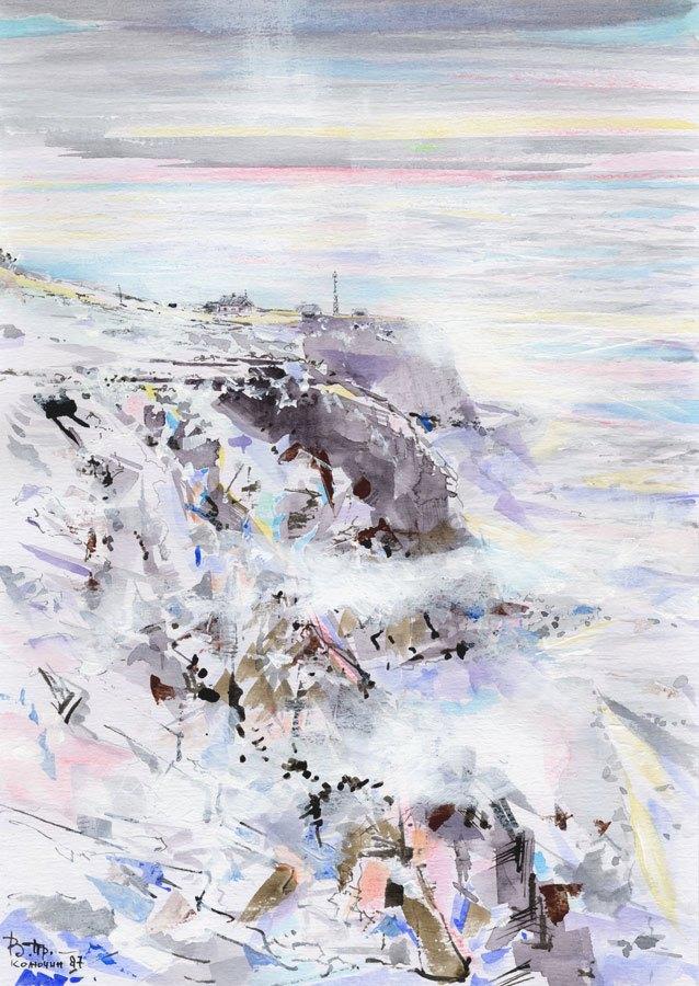 "Kolyuchin Isl and the Sergievskyy Strait (watercolor, 8*12"", 1987-2010)"