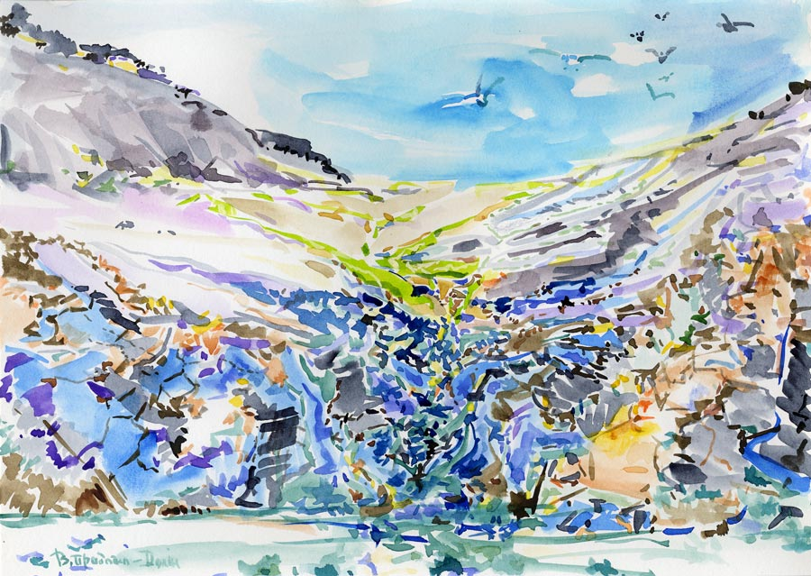 "Sunny day at the Herald Isl, Arctic (watercolor, 8*12"", 1985-2010)"