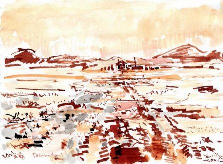 Дорога на Нижнюю Гусиную в мае,о.Врангеля (тушь, бамбуковое перо,размывка,15*21 см,1980-е)