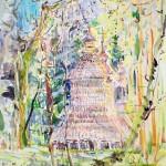 "Лесная церковь,этюд (б.,а.,30*42 см.,2010) Wooden church,etude (watercolor,12*17"",2010)"