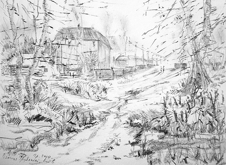 Трублаини ул.,Киев (б.,к.,15*21 см.,2010) * Trublaini Street in Kyiv (pencil)