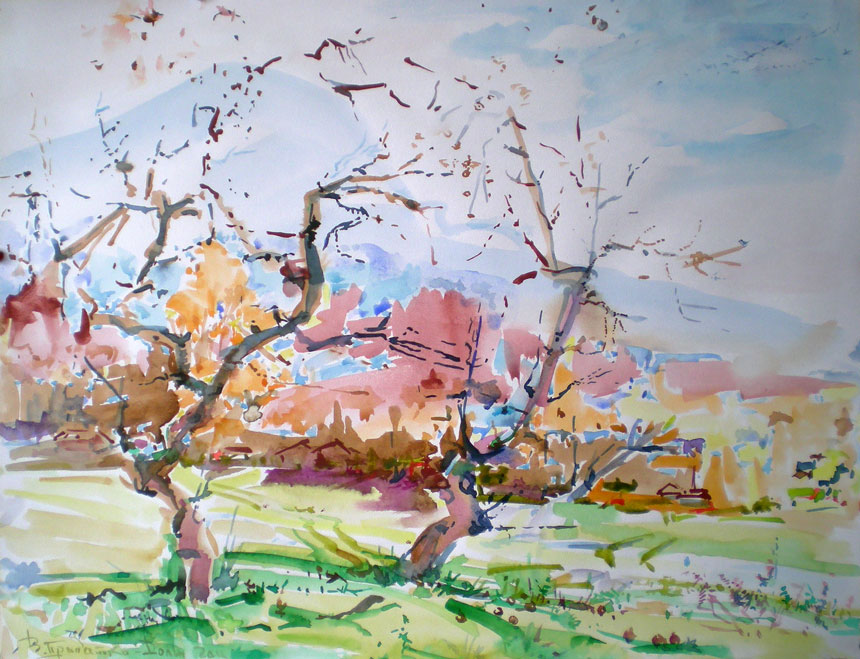Two apple-trees at roadside (watercolor,40*50 cm, 2005)