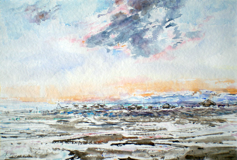 Wrangel Island,Doubtful Bay,Watercolor,Canson,35*55 cm,2013