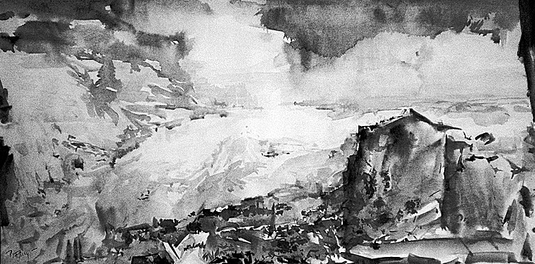 Near a glacier (North Land Archipelago) - sketch by V.Prydatko-Dolin,1991