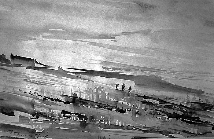 In expedition (North Land Archipelago) - sketch by V.Prydatko-Dolin, 1991
